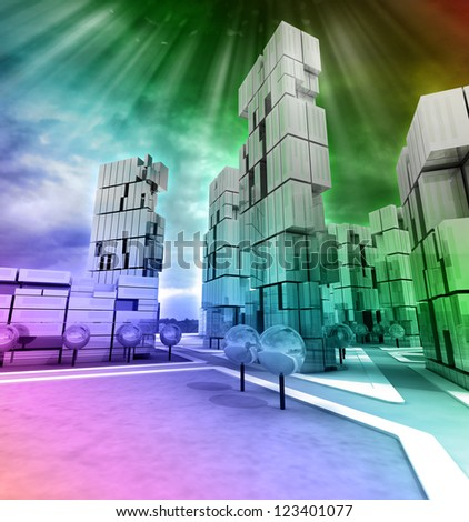 Business modern city rainbow colored with flare illustration