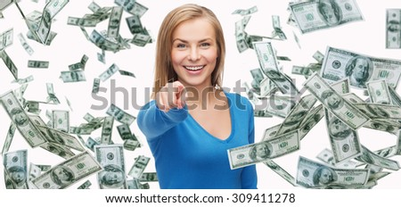 business, money, finance, people and banking concept - smiling woman with dollar cash money pointing finger on you