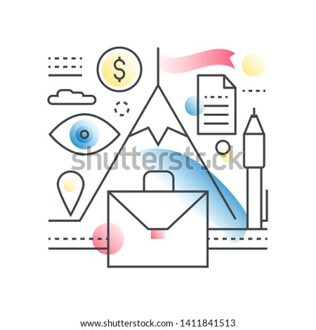 Business motivation, teambuilding, leadership  concept in trendy line with gradient flat color style.