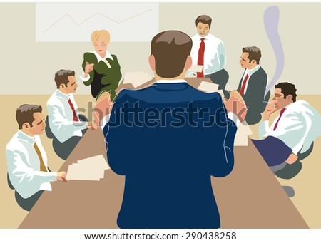 Business negotiations, Director speech, meeting with clients. Business concept. Illustration
