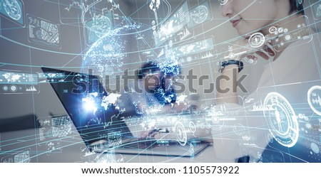 Business network concept. SaaS(Software as a Service).