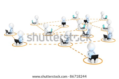 Business Network. 3D little human characters X14 in a network. Blue and illuminative Screens. Orange markers