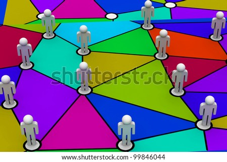 Business Network in colourful background