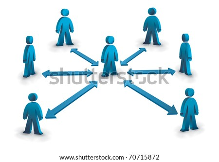 business network with one person connected to the rest - stock photo