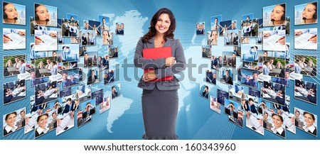 Business networking college. Globalization and technology background.