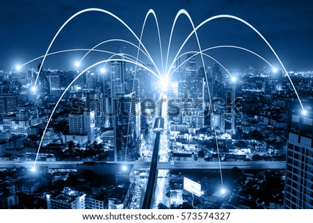 Business networking connection concept and Wi-Fi in city.Technology communication.Background blur building in the capital. #573574327