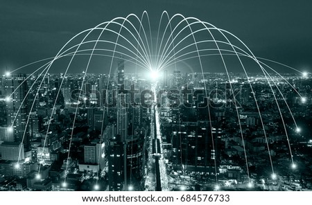 Business networking connection concept and Wi-Fi in city.Technology communication.Background blur building in the capital. #684576733
