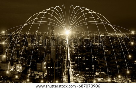 Business networking connection concept and Wi-Fi in city.Technology communication.Background blur building in the capital. #687073906