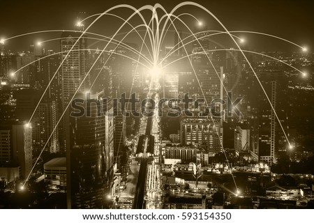 Business networking connection concept and Wi-Fi in city. Technology communication, The wireless communication , High Speed Internet , Optical fiber , Background blur building in the capital  #593154350