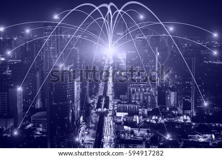 Business networking connection concept and Wi-Fi in city. Technology communication, The wireless communication , High Speed Internet , Optical fiber , Background blur building in the capital  #594917282