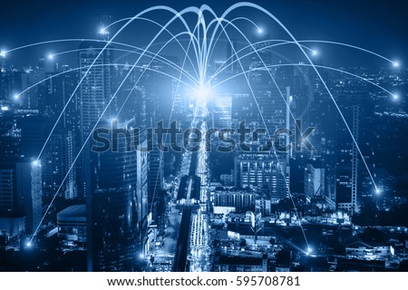 Business networking connection concept and Wi-Fi in city. Technology communication, The wireless communication , High Speed Internet , Optical fiber , Background blur building in the capital  #595708781