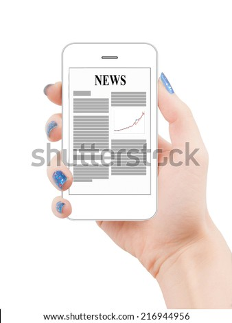 Business news on smartphone similar to iphone display #216944956