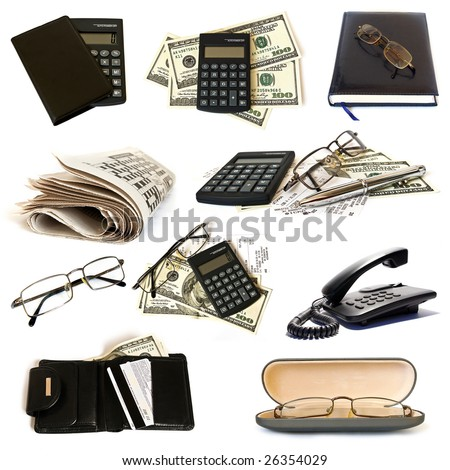 Business objects on white background