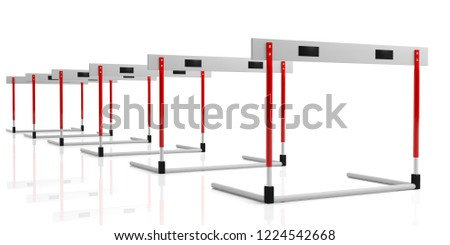 Business obstacles concept. Hurdles in a row isolated, against white background, 3d illustration.