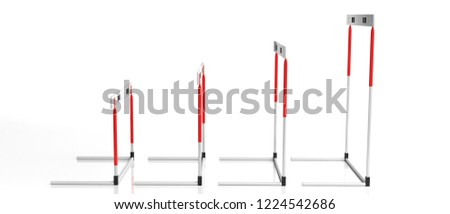 Business obstacles concept. Hurdles of miscellaneous sizes in a row isolated, against white background, side view, banner, 3d illustration.