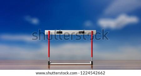 Business obstacles concept. Single hurdle, against blue sky background, 3d illustration.
