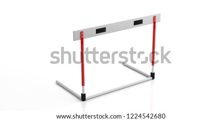 Business obstacles concept. Single hurdle isolated, against white background, 3d illustration.