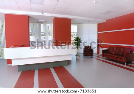 Business office reception in white and red colors