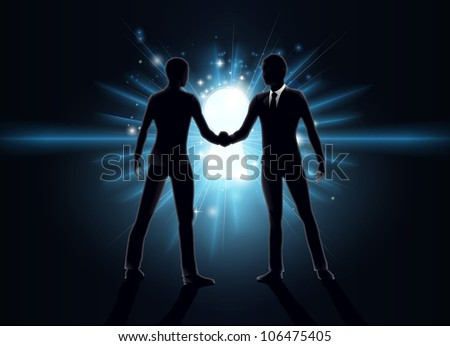 Business opportunity concept, business men shaking hands with keyhole in the background