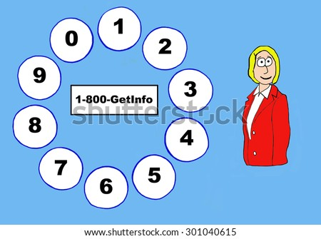 Business or education cartoon showing a woman, a telephone dial pad and \'1-800-GetInfo\'.