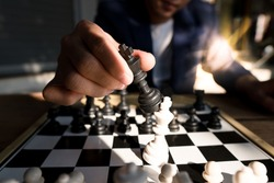 business organize strategy brainstorm chess board game.