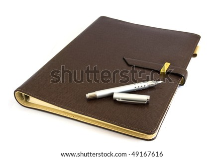 Business organizer with silver pen