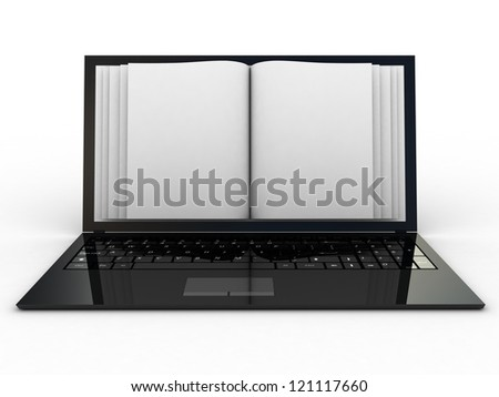 Business paper on laptop. Mobile device concepts 3D. isolated on white