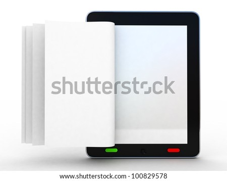 Business paper on tablet. Mobile device concepts 3D. isolated on white