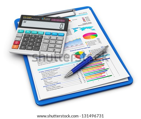 Business paperwork, finance success and accounting concept: clipboard with financial report documents, office calculator and ballpoint pen isolated on white background
