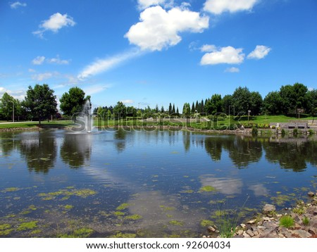 Business park and pond with fountain