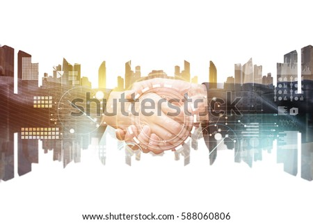 business partner hand shake with mixed media