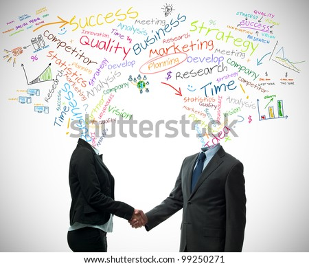 Business partner handshake with business words concept