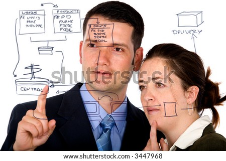 business partners analyzing a database structure isolated over a white background