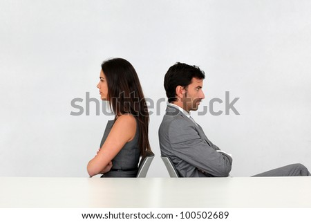 Business partners being upset at each other