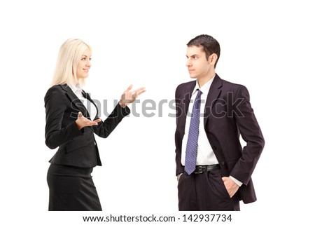 Business partners having a conversation, isolated on white background