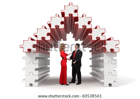 Business partners shaking hands in a 3d rendered puzzle house - Isolated