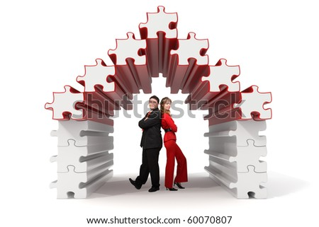 Business partners standing in a 3d rendered puzzle house - Isolated