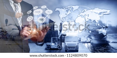 business partnership and cooperation concept  in front Logistics Industrial Container Cargo freight ship for Concept of fast or instant shipping, Online goods orders worldwide