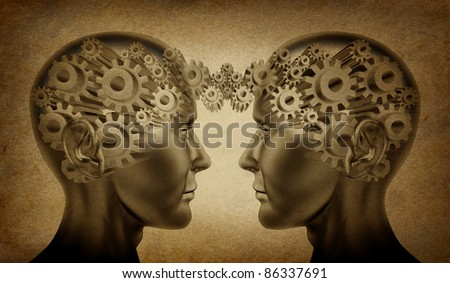 Business partnership and teamwork symbol represented by two human heads with gears connected together as a symbol of network referrals and relationships on an old grunge parchment background.