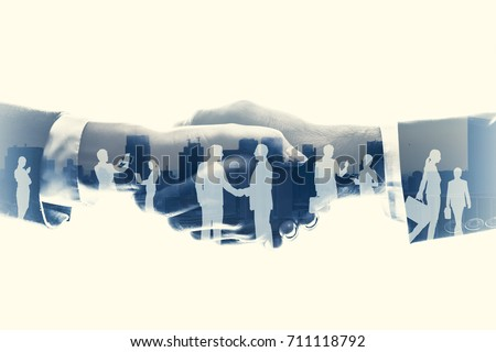 business partnership concept. Multiple exposure. #711118792