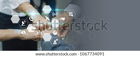 Business partnership meeting concept. Successful businessmen handshaking,virtual connection graphic screen. #1067734091
