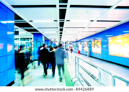 Business passenger at subway station at intentional motion blurred #84426889