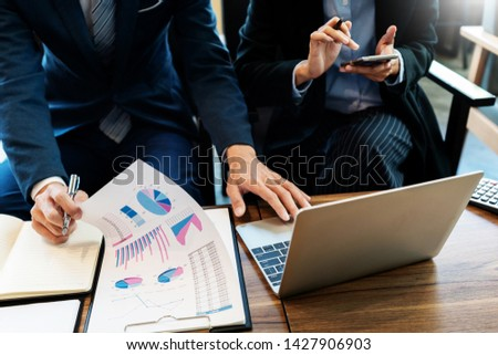 business people and coworker colleagues discussing explanations about week working plan project cooperating in modern coworking office #1427906903