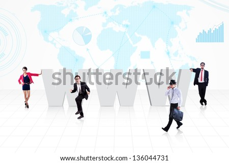 Business people and internet logo (www) on world map background - stock photo