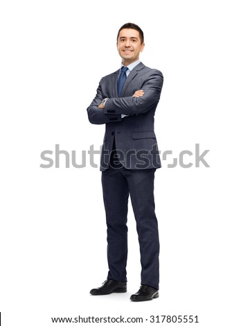 business, people and office concept - happy smiling businessman in dark grey suit #317805551