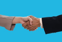 Business people and Teamwork Deal Cooperation Partnership business people shaking hands isolated on blue color background , clipping path, business concept