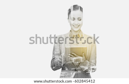 business, people and technology concept - smiling woman with tablet pc computer over city buildings and double exposure effect