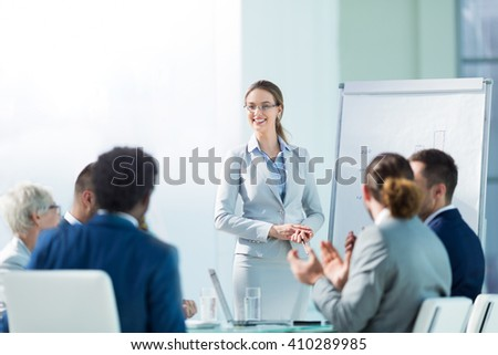 Business people at presentation in office #410289985