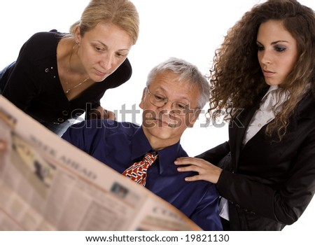 Business people at work rading news