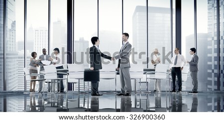 Business People Board Room Meeting Handshake Communication Concept #326900360